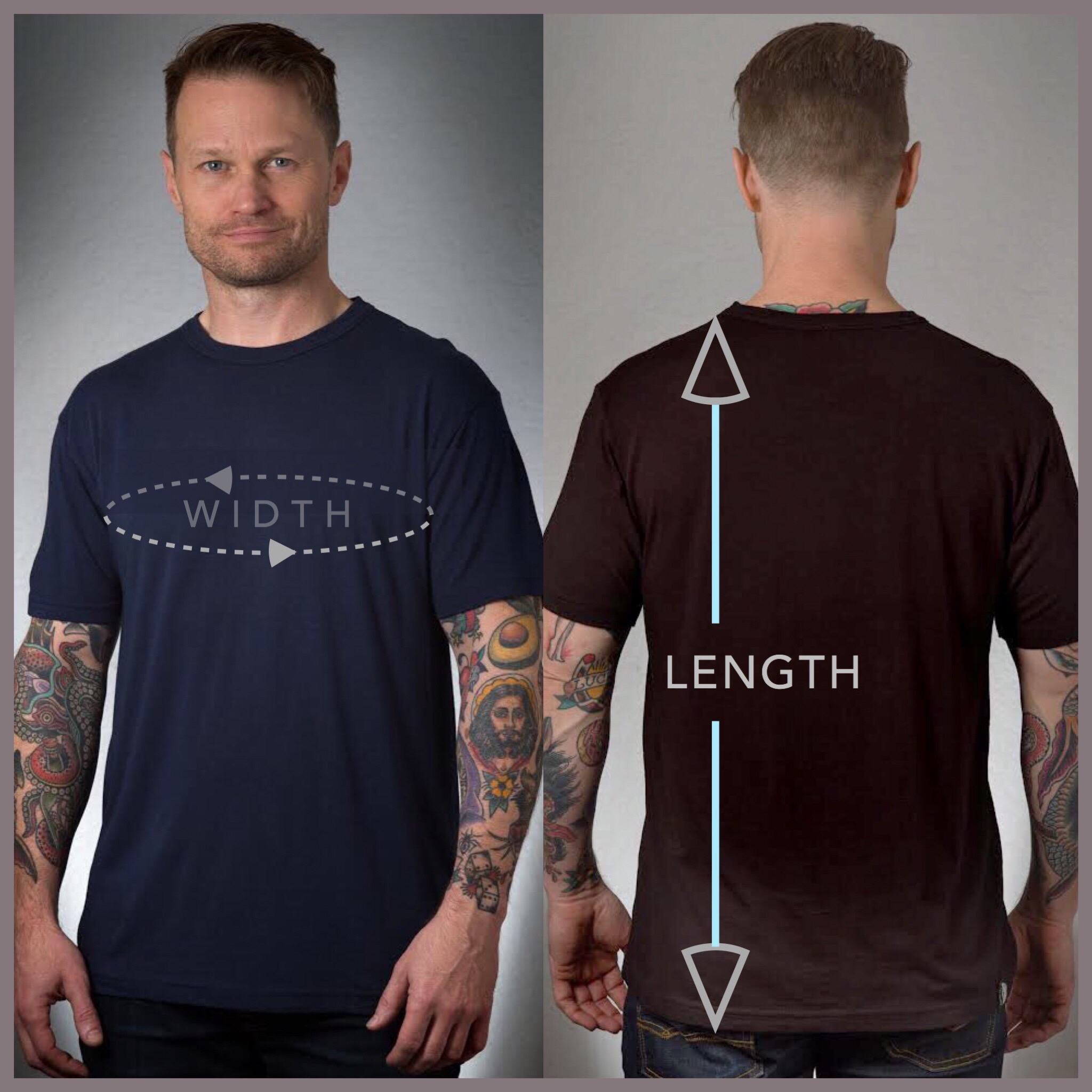 Parallel Mens T-Shirt Size Chart